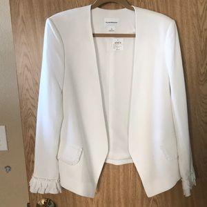 NWT white Club Monaco blazer 12 with ruffles